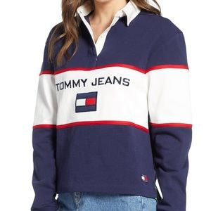 23d50201 Tommy Hilfiger Tops - Tommy Jeans 90s Color Block Rugby Shirt in Blue